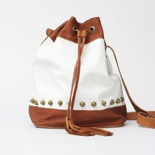 Adri White -Tan Leather Drawstring Bag