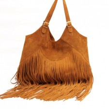 Boho suede leather bag in Tobacco