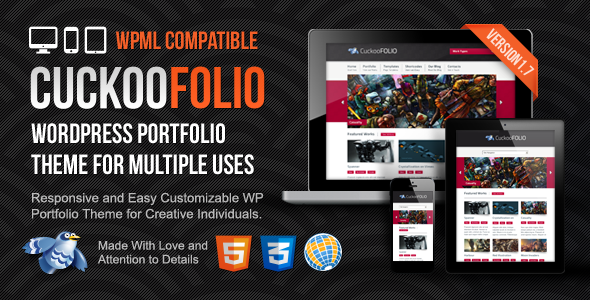 CuckooFolio - Responsive WordPress Portfolio Theme for Multiple Uses