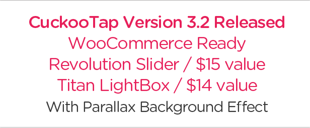 CuckooTap - Responsive Single Page WordPress Theme. Woo-Commerce 2.0 Compatible. With Parallax Background Effect